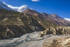 Marsjandi-Khola river valley. Annapurna circuit trek. Himalayan mountains of Nepal royalty free stock image