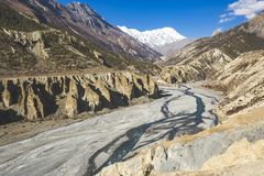 Marsjandi-Khola river valley. Annapurna circuit trek. Himalayan mountains of Nepal royalty free stock photo