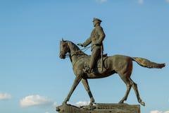 Marskalk Zhukov på hästrygg Arkivfoton