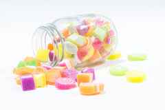 Marsmellow con el fondo del postre de gelatina Foto de archivo libre de regalías