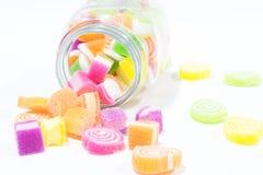 Marsmellow con il fondo del dessert di gelatina immagini stock libere da diritti