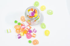 Marsmellow con il fondo del dessert di gelatina immagine stock