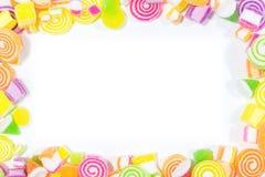 Marsmellow with gelatin dessert background. Group of marsmellow with gelatin dessert background and frame Royalty Free Stock Image