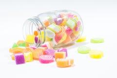 Marsmellow with gelatin dessert background. Jars of marsmellow with gelatin dessert background Royalty Free Stock Photo