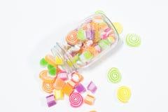 Marsmellow with gelatin dessert background. Jars of marsmellow with gelatin dessert background Stock Image