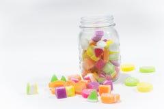 Marsmellow with gelatin dessert background. Jars of marsmellow with gelatin dessert background Royalty Free Stock Image