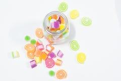 Marsmellow med bakgrund för gelatinefterrätt Fotografering för Bildbyråer
