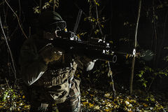 Marsoc raider aiming weapons. United states Marine Corps special operations command Marine Special Operator also known as Marsoc raider aiming weapons in the stock photography