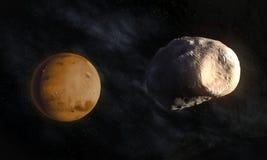 Marss större moon Phobos Arkivfoto