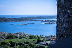 Marstrand town, Sweden. Marstrand sea-side village on the west coast of Sweden. Image taken from the highest point of Carlstens Fortress from the 17th century Stock Image