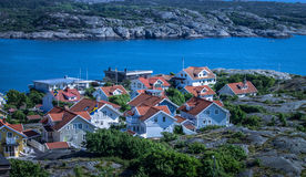 Marstrand town, Sweden. Marstrand sea-side village on the west coast of Sweden. Image taken from the highest point of Carlstens Fortress from the 17th century Royalty Free Stock Photo