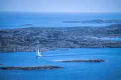 Marstrand town, Sweden. Marstrand sea-side village on the west coast of Sweden. Image taken from the highest point of Carlstens Fortress from the 17th century Stock Photos