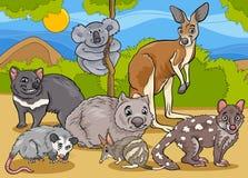 Marsupials animals cartoon illustration Royalty Free Stock Photography