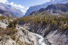 Marsyandi river. Himalayan mountains. Annapurna circuit trek. Marsyandi river valley. Himalayan mountains of Nepal. Annapurna circuit trek stock image