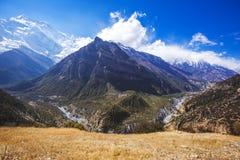 Marsyandi river. Himalayan mountains. Nepal. Annapurna circuit trek stock photography