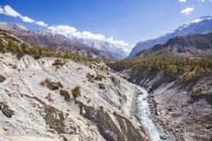 Marsyandi river. Himalayan mountains. Annapurna circuit trek. Marsyandi river valley. Himalayan mountains of Nepal. Annapurna circuit trek stock photos