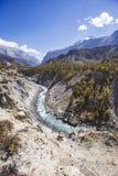 Marsyandi river. Himalayan mountains. Annapurna circuit trek. Marsyandi river valley. Himalayan mountains of Nepal. Annapurna circuit trek stock images