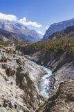 Marsyandi river. Himalayan mountains, Nepal. Annapurna circuit trek. Marsyandi river valley. Himalayan mountains of Nepal. Annapurna circuit trek stock photos