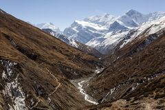 Marsyangdi river flows at the foot of the mountains. Himalayas, Nepal, Annapurna conservation area. Mountain landscape royalty free stock images