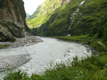 Marsyangdi river near Tal village - Nepal Stock Photography