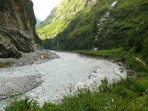 Marsyangdi river near Tal village - Nepal Stock Photography