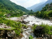 Marsyangdi river, Nepal - Annapurna trekking Royalty Free Stock Image