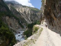 Marsyangdi river valley. Annapurna Circuit trek in Nepal. Marsyangdi river valley near Pisang village stock photo