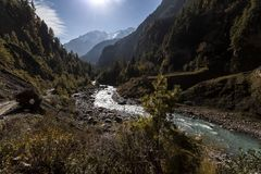 Marsyangdi river valley in Himalayas, Nepal, Annapurna conservation area. Mountain landscape stock photography