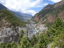 Marsyangdi river valley Stock Photos