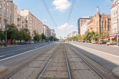 Marszalkowska Street in Warsaw stock photo