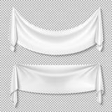 Marszcząca tkanina drapuje tkanina wektoru pustych białych sztandary na przejrzystym tle royalty ilustracja