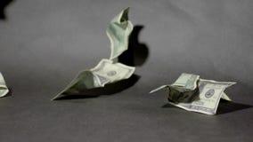 Marszczący 100 $ rachunków spada na czarnym tle w wolnym pojęciu zbiory wideo