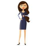 Marszczyć brwi biznesowej kobiety Płaski Surowy adiunkt Rozczarowany charakter wektor Zdjęcia Stock