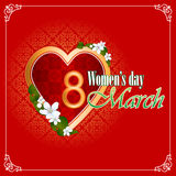 8 marszu kobiety dnia tło z ładnym sercem wypełniał arabesk ilustracja wektor