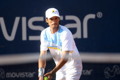 Mart­n Vassallo Arguello. SANTIAGO, CHILE - FEBRUARY 1: Mart­n Vassallo Arguello ready to serve during a match valid for the first round of the ATP of Stock Image