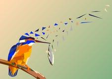 Martín pescador del pájaro en una rama con los pescados en su pico, multico del mosaico ilustración del vector