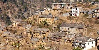 Martadi村庄早晨视图在西尼泊尔 免版税库存照片