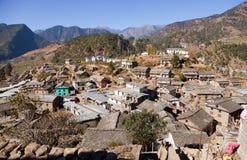 Martadi村庄早晨视图在西尼泊尔 免版税库存图片