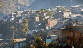 Martadi村庄早晨视图在西尼泊尔 库存图片