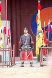 24 Martail arts. SUWON, SOUTH KOREA - October 30, 2014 : Korean soldier with traditional Joseon dynasty during show martail arts at Hwaseong haenggung square royalty free stock images