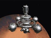 Marte com estação espacial ilustração stock