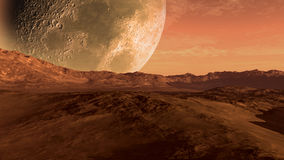 Marte le gusta el planeta rojo con la luna stock de ilustración
