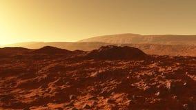 Marte - o planeta vermelho - paisagem com as montanhas com camadas da rocha sedimentar durante o nascer do sol ou o por do sol ilustração royalty free