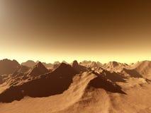 Marte - sobre las montañas ilustración del vector