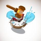 Marteau de juge frappant sur la montre heure de juger le concept - vecteur Image stock