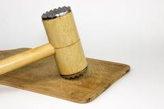 Marteau de viande en bois Photographie stock libre de droits