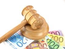 Marteau et euro d'enchère Images libres de droits