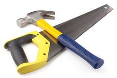 Marteau et hand-saw photos libres de droits