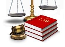 Marteau juridique avec des échelles et des livres de loi illustration stock