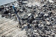 marteau piqueur au milieu de la route Photographie stock libre de droits